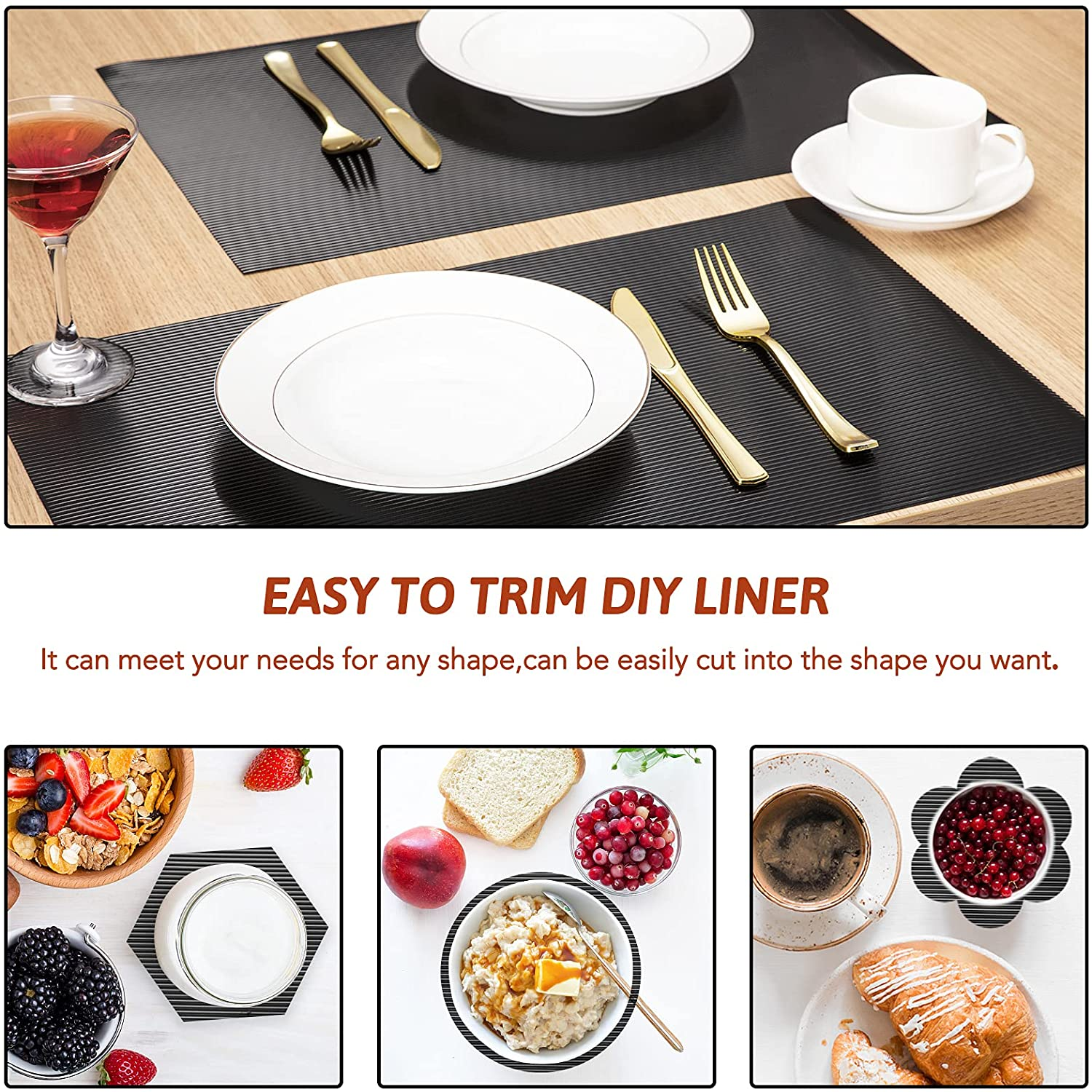 """Glotoch Shelf Liner 12"""" x 30 ft. - Non Adhesive Refrigerator, Kitchen, Drawer Liners, Waterproof and Durable Fridge Table Place Mats for Cupboard, Cabinet, Drawer Liner, Black"""