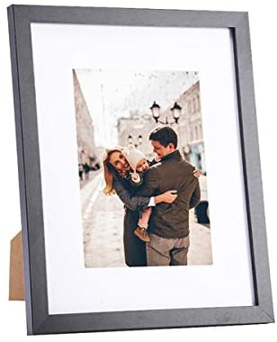 8 x 10 Picture Frame Black Wood – Display 5 x 7 in with Mat Photo or 8 x 10 inch without Mat Photo, Resistant Plexiglass Wall Mount or Table Top Frame for Print Artwork Poster Family Portraits