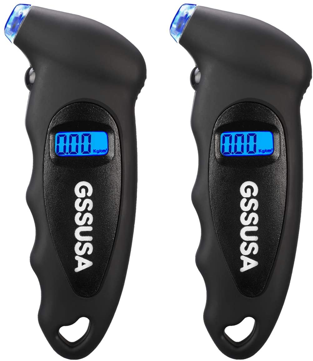 GSSUSA Digital Tire Pressure Gauge 150 PSI 4 Settings for Car Truck Bicycle Bike with Backlit LCD, Non-Slip Grip & Lighted Nozzle, Black(2 Pack)