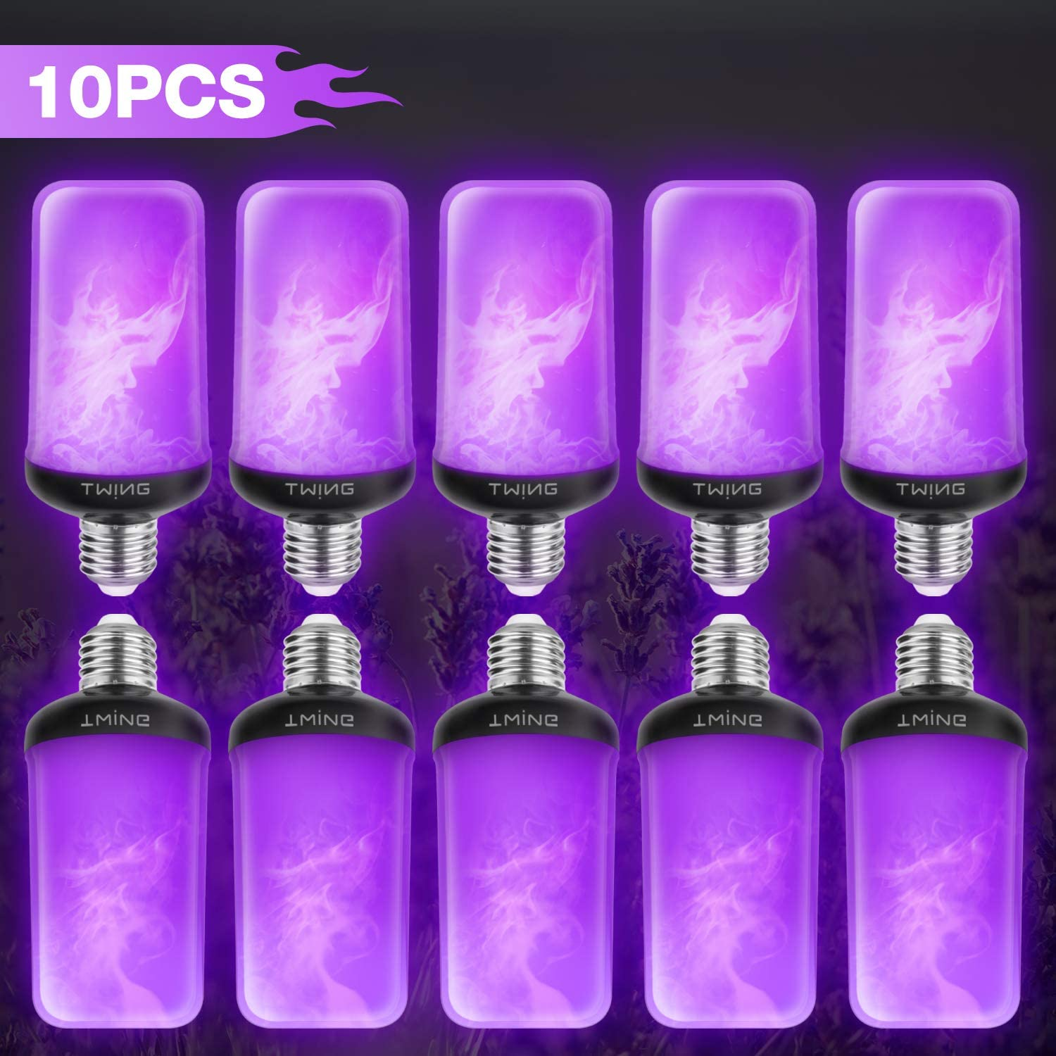LED Flame Bulb Purple Fire Bulbs(10 Pack) 6W 99 LED 4 Modes E26/E27 Base Flickering Fire Light Bulbs with Gravity Sensor Energy Fire Lights for Halloween Christmas Indoor Outdoor Decorations