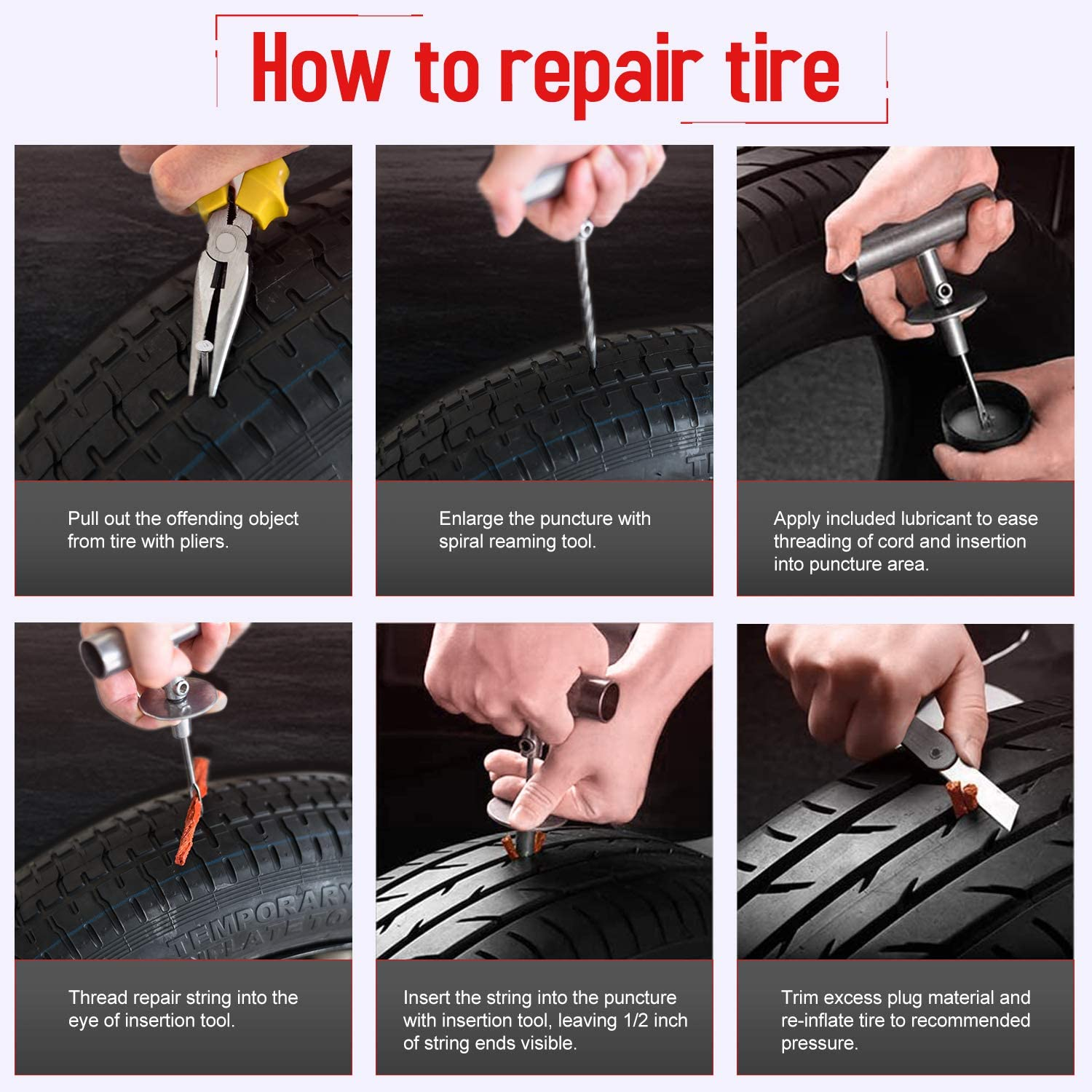 GSSUSA Universal Tire Repair Kits, 78pcs Heavy Duty Tire Tool for Flat Tire Puncture Repair Kit, Flat Tire Plug Kit for Car, Vehicle, Truck, Motorcycle, ATV,RV, Jeep, Tractor, Trailer